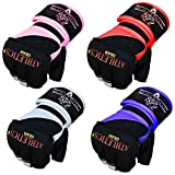 MMA Grappling Gloves by Athletics Gear – Perfect Combination of Hand Wraps and Gel Fist Gloves for Striking Protection (Red/black, Small)