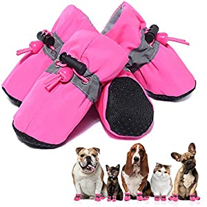 SATTARO Dog Boots & Paw Protector for Small Medium Dog, Anti-Slip Dog Shoes for Hot Pavement with Reflective Straps Pink