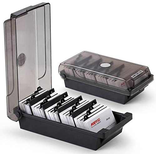 SFQMT - Organizador de tarjetas de visita con divisores y pestañas de índice para 500 tarjetas, color negro