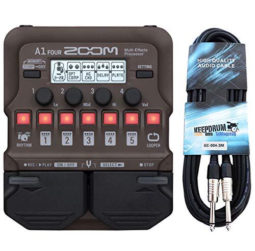 Zoom A1 Four Effektgerät für akustische Instrumente + keepdrum Klinkenkabel 3m