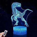 Dinosaurio 3D Luz Nocturna Infantil, Juguete Dinosaurio para Chicos, 7 Colores Lámpara de Luz Nocturna Mesa Escritorio Dormitorio Decoración, Regalos de Cumpleaños para Bebés y Amigos