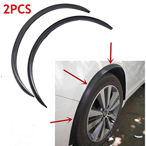 2pcs Universal Carbon Fiber Rubber Car Truck Wheel Well Molding Fender Trim Universal Black Wheel Eyebrow Protector Lip Sticker