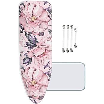avec 4 Clips L//XL 160x65cm ZJBKX Tr/ès Grande Housse Table Repasser Fleurs color/ées