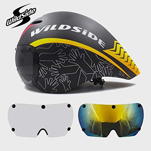 linfei Race Cycling Helm Objektivbrille Triathlon Tri Aero Helm Rennrad Rennrad Fahrradhelm 55-61Cm C-3