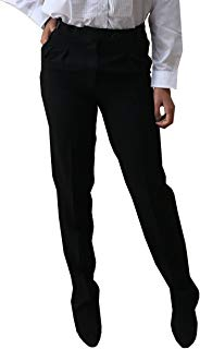 Women's Black Tuxedo Pants With Satin Stripe, Polyester, Double Pleated