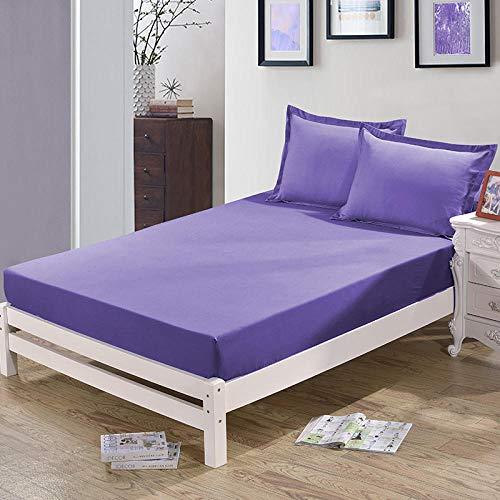 HPPSLT Protector de colchón, algodón, poliéster, Sábana cepillada Color sólido Antideslizante Puro Ahumado púrpura_120 * 200cm