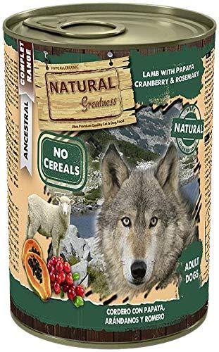 Natural Greatness Comida Húmeda para Perros de Cordero con Papaya, Arándanos y Romero. Pack de 6 Unidades. 400 gr Cada Lata