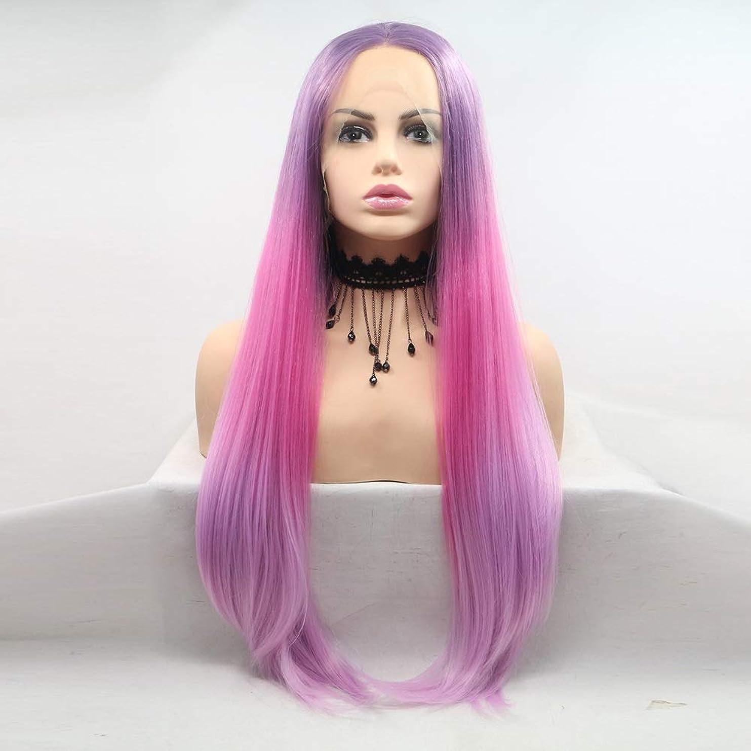 責めキッチンぐったりZXF フロントレースの化学繊維かつら女性の紫色のグラデーションロングヘアストレートヘアヨーロッパやアメリカンスタイルのヘアセット 美しい