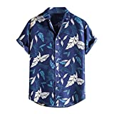 BIBOKAOKE Camicia da uomo hawaiana a maniche corte con risvolto, basic, slim fit, casual, estiva, alla moda, a maniche corte Blu 6 L