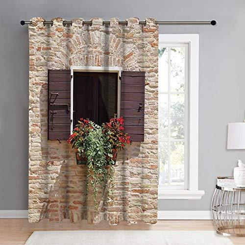 REIOIYE Cortinas opacas, ventana de aspecto antiguo en una pared de piedra antigua con flores Pienza Toscana, sala de estar, dormitorio, cortina, vida del hogar, decoracion