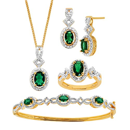 4 ct Created Emerald Pendant, Bracelet, Earring & Ring Set with Diamonds in 14K Gold-Plated Brass