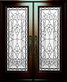 30'X30'X80' Exterior Entry Front Door Bloom Style Right Hand in-Swing Prehung Stained Double Door Solid Wood-Oval Glass