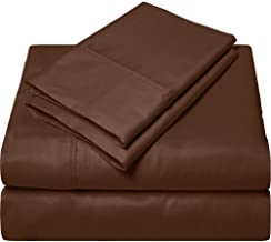 SGI bedding 1000 Thread Count Egyptian Cotton Bed Sheets 4 Piece Sheet Set Solid California King Brown SGI-HQ-MCP-30