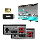 TEQIN 4 K HDMI consola de videojuegos mini retro consola inalámbrica controlador incorporado 568 videojuegos, doble jugadores, plug and play videoconsola portátil negro