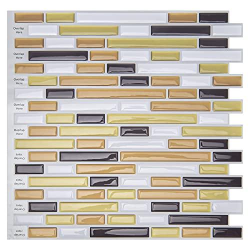 Art3d - adhesivo para azulejos cocina «pegar y despegar» 30x30cm, Aspecto de imitación de metal