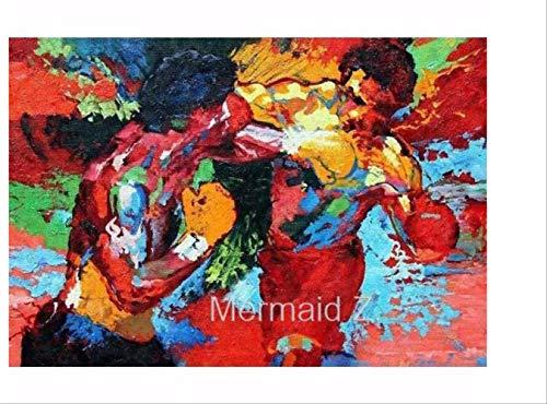 DPFRY Leinwandbild Leroy Neyman Rocky Vs Apollo Abstrakte Kunst Maler Malerei Poster Boxing Bewegung Auf Leinwand Film Malerei Wandkunst Poster Drucken Mn26T 40X60 cm Ohne Rahmen