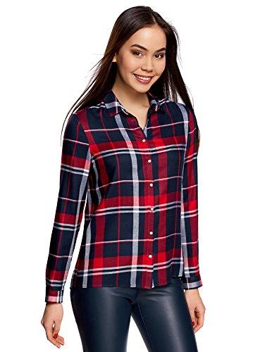 oodji Ultra Mujer Blusa Estampada de Viscosa, Rojo, ES 42 / L