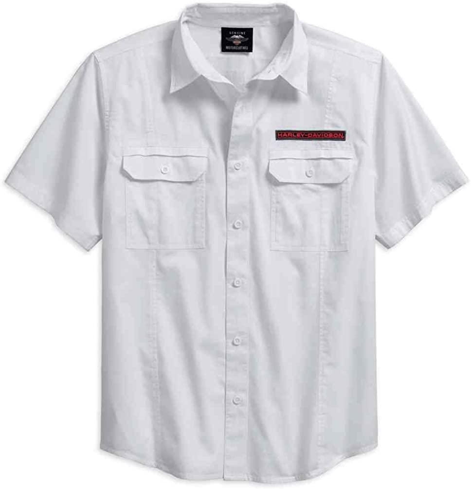 Harley-Davidson Men's Checkerboard Graphic Short Sleeve Shirt, White 96194-18VM