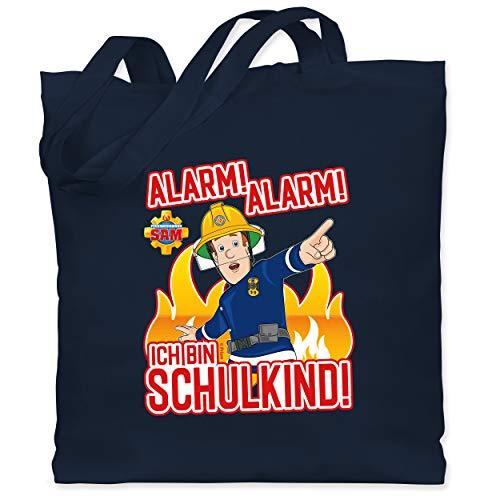 Shirtracer Feuerwehrmann Sam Tasche - Alarm! Alarm - Ich bin Schulkind! - Unisize - Navy Blau - Einschulung - WM101 - Stoffbeutel aus Baumwolle Jutebeutel lange Henkel