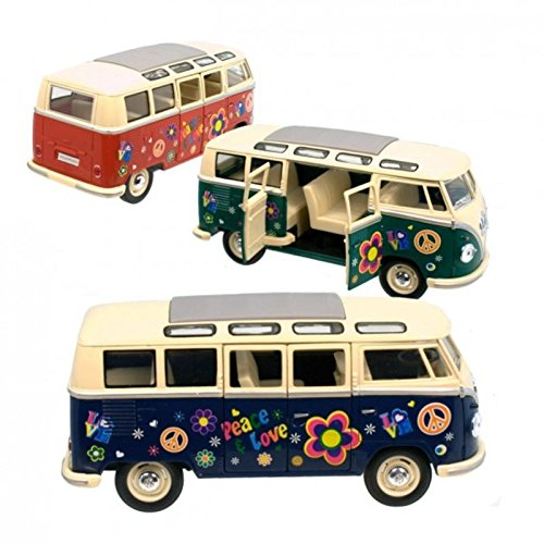 VW T1 Bulli Flower Power Modelauto - VW Hippie bus Volkswagen T1 bus Liefde