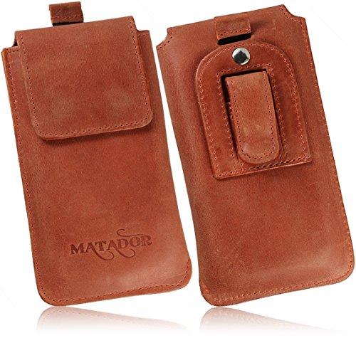 MATADOR Ledertasche Handytasche Gürteltasche kompatibel für Apple iPhone X/XS oder iPhone 11 Pro mit Magnetverschluss Gürtelclip/Schlaufe (Braun)