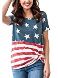 Kaei&Shi 4Th of July Shirts for Women,Patriotic Tops,Front Twist Knotted American Flag Print T Shirt,Red White Striped Star Blouse Flag Small