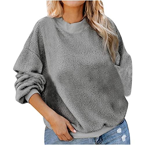 Wave166 Sudadera para mujer de un solo color, de felpa, de forro polar, para otoño/invierno, informal, suelta, de manga larga, cálida, gruesa, cuello redondo, ropa deportiva para mujeres, gris, XL