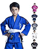 Vector Sports Kids Brazilian Jiu Jitsu BJJ Gi with Free White Belt 100% Cotton Pearl Weave Kimono Ultra Lightweight Preshrunk Fabric (Blue, K4)
