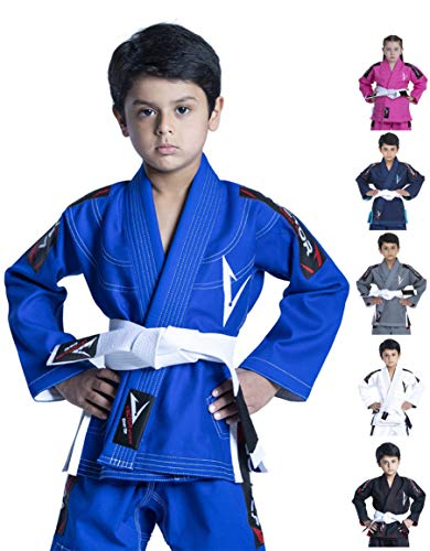 Vector Deportes 100% algodón Pearl Weave Kids Brazillian Jiu Jitsu BJJ Gi Attila serie kimono ligero tejido preencogido, L, Azul
