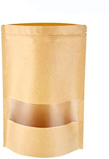 Self-Sealing Kraft Paper Bag100Pcs with Transparent Window Brown Stand Up Zipper Pouches Can Reusable for Food Tea Coffee Beans Nuts Seeds Dried Fruits 3.9 * 5.9in/10 * 15cm