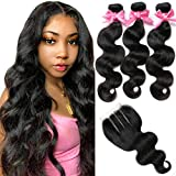 Body Wave 3 Bundles with Closure Brazilian Virgin Hair 8A 100% Unprocessed Human Hair bundles With Lace Closure Natural Black Color by YAVVE (12' 14' 16'+10'closure, Three Part)