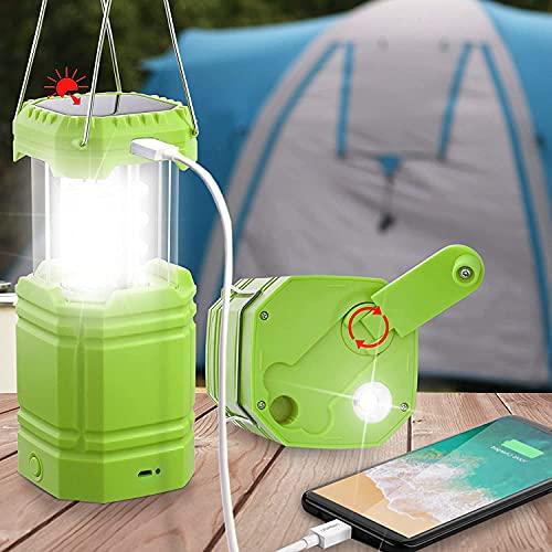 Lanterna da campeggio a manovella, portatile, torcia a LED ultra luminosa, durata 30 – 35 ore, caricatore USB, batteria da 3000 mAh, lanterna elettronica per esterni, lettura delle escursioni