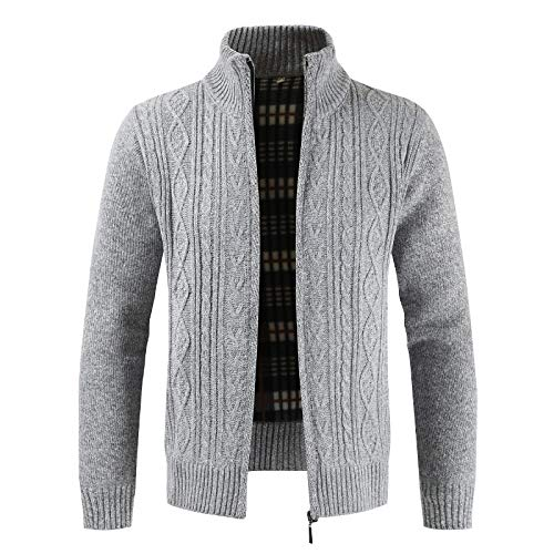 hengtong Mountainskin Autumn Cardigan Men Sweaters Thick Warm Knitted Sweater Mens Jackets Coats Male Clothing Casual Knitwear (Color : Light Grey, Size : XXL)