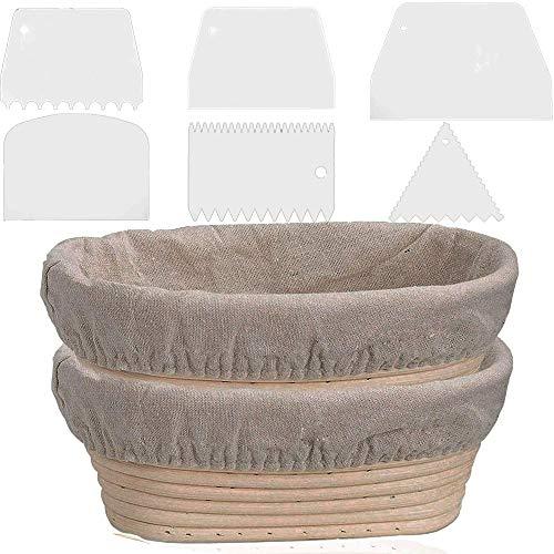 Gärkörbe für Sauerteig, Brot, 25,4 cm, oval, handgefertigt, 2 Stück
