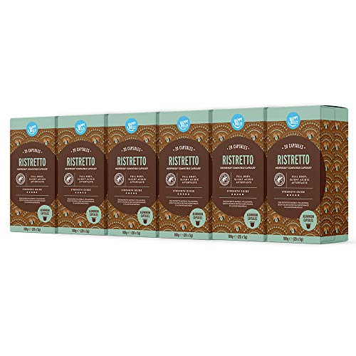 Marca Amazon - Happy Belly Ristretto Café molido de tueste natural en cápsulas de aluminio compatibles con Nespresso, 120 cápsulas (6x20) - Rainforest Alliance
