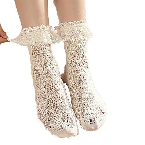 Mid Calf Socks Breathable Vintage Fashion Elegant Banquet Comfortable Black White Vintage Lolita Socks