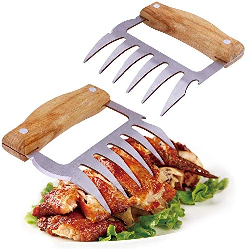 APRATA Pulled Pork Shredder Claws-BBQ Meat Shredder Claws Set of 2,Stainless Steel Meat Forks with Wooden Handle for Shredding, Pulling, Handing, Pork, Turkey, Chicken