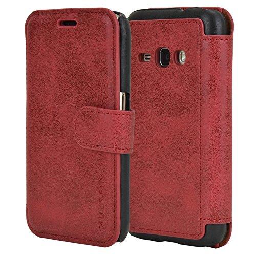 Mulbess Handyhülle für Samsung Galaxy J1 2016 Hülle Leder, Samsung Galaxy J1 2016 Handytasche, Layered Flip Schutzhülle für Samsung Galaxy J1 2016 Case, Wein Rot