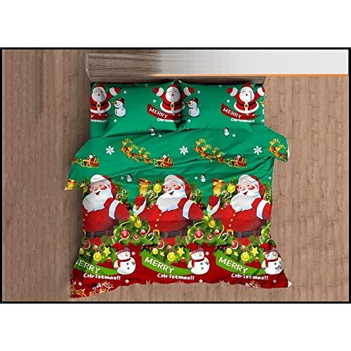 Fashion Home - Set copripiumino natalizio con Babbo Natale, 3/4 pezzi, multicolore, 100% lino cotone...
