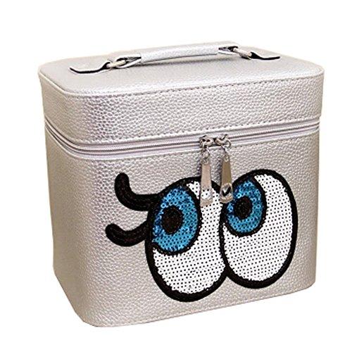 Big Eyes Cosmetic Box Voyage Makeup Box Cosmetic Bag Wash Bag, Silver