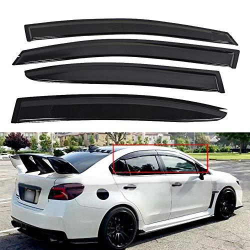 munirater Black Side Window Visor Vent Rain Guard Deflector Replacement for 2015-2019 Subaru WRX STI JDM Style