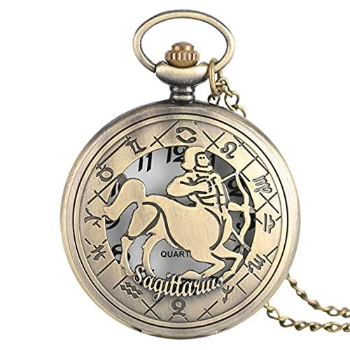 JTWMY Constelaciones Serie temática Reloj de Bolsillo de Cuarzo Reloj del Zodiaco Cadena Regalo-Sagitario