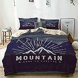 Juego de funda nórdica beige, Dare to Explore Quote Mountain Landscape Journey Adventure Themed Motivacional, decorativo Juego de ropa de cama de 3 piezas con 2 fundas de almohada Fácil cuidado Anti-a
