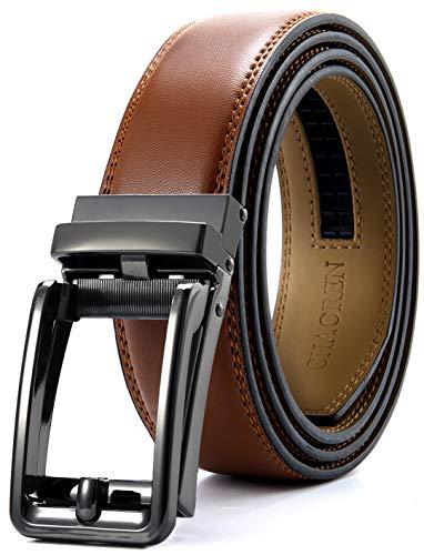 Click Ratchet Belt Dress with Sliding Buckle 1 3/8' - Adjustable Trim to Exact Fit