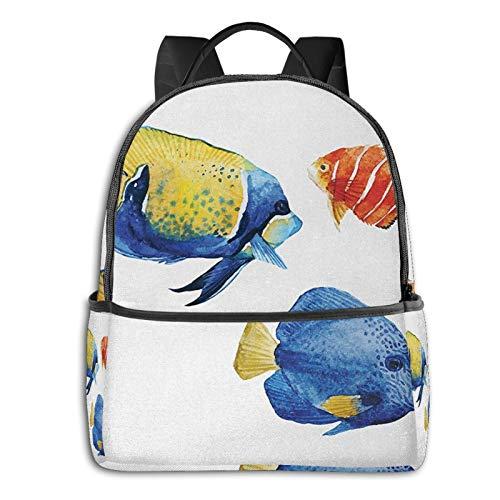 Rucksack Freizeit Damen Herren, Aquarium Life Diskusfisch Goldfisch Campus Kinderrucksack, Daypack Schulrucksack Sportrucksack Tablet Tasche 15,6 Zoll
