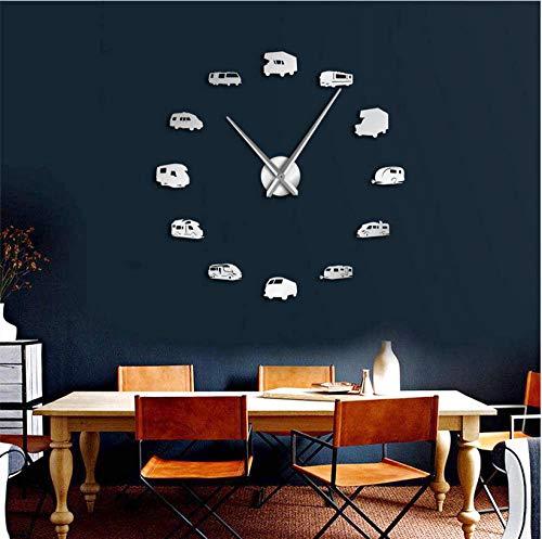 xtmyz Mute Relojes de Pared Bricolaje Autocaravana Autocaravana Decoración para el hogar RV Camping DIY Reloj de Pared Gigante Remolque de Viaje Transporte Vehículos recreativos Reloj de Pared