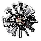 LTOOD Joiner Tools Vinyl Record Reloj de pared Herramientas de garaje Reloj Herramientas mecánicas...