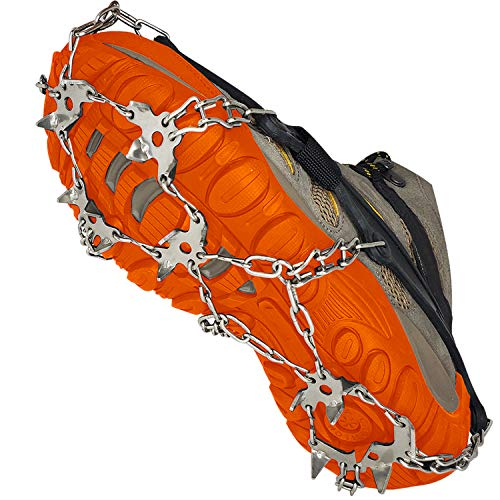 Outdoor 360 Ice Cleats for Shoes and Hiking Boots - Crampons - Non-Slip Spikes for Men and Women - Best for Traction on Snow and Ice (Large)…
