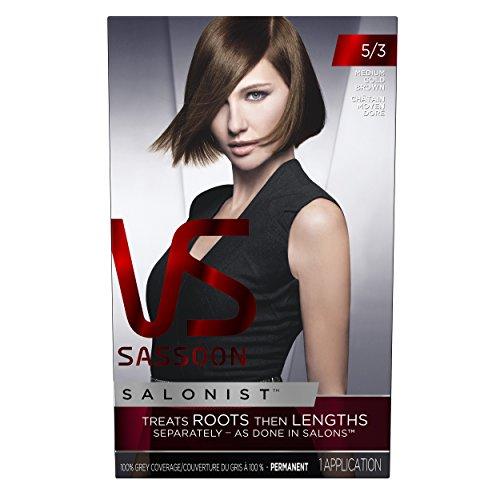 Vidal Sassoon Salonist Hair Color Permanent Color Kit, 5/3 Medium Gold Brown