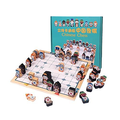 SYXX De los niños juguetes educativos, juego de ajedrez de madera de China, portátil tablero de ajedrez de madera maciza de juego de ajedrez, personaje de dibujos animados 3D juego juguete educativo J